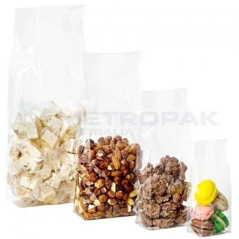 Clear gussetted cellophane bag 230x150x50mm