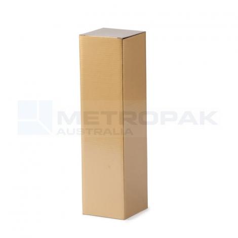 Wine Box - 1 Bottle Flat Top - Gold