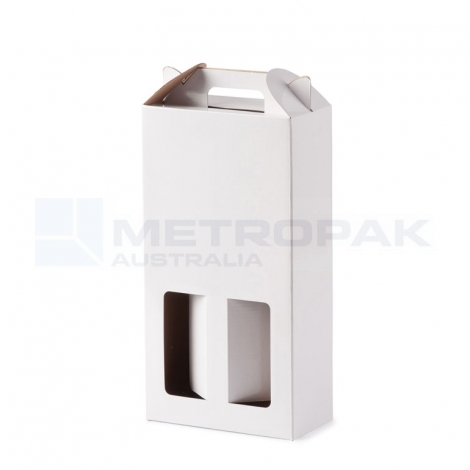 Wine Box - 2 Bottle Handle Top - White