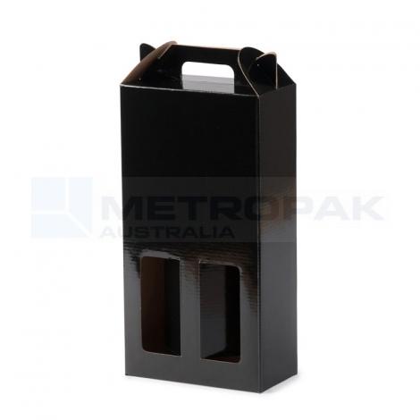 Wine Box - 2 Bottle Handle Top - Black