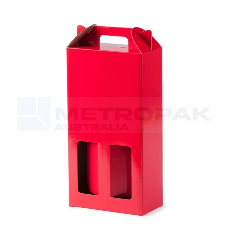 Wine Box - 2 Bottle Handle Top - Red