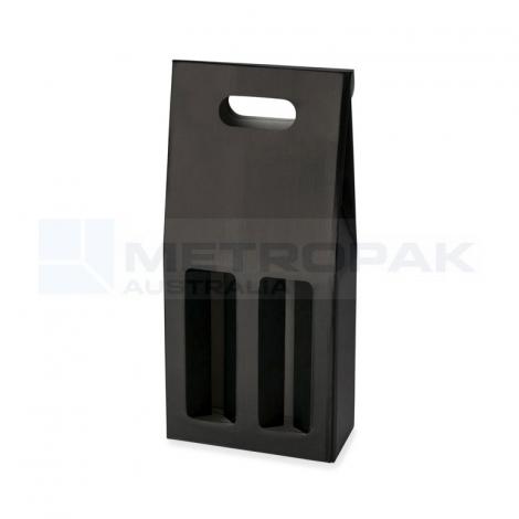 Wine Box - 2 Bottle Gable Top - Black