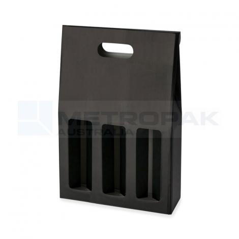 Wine Box - 3 Bottle Gable Top - Black