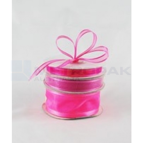 Ribbon 15mm x 22mtrs Satin Edge Organza - Hot Pink