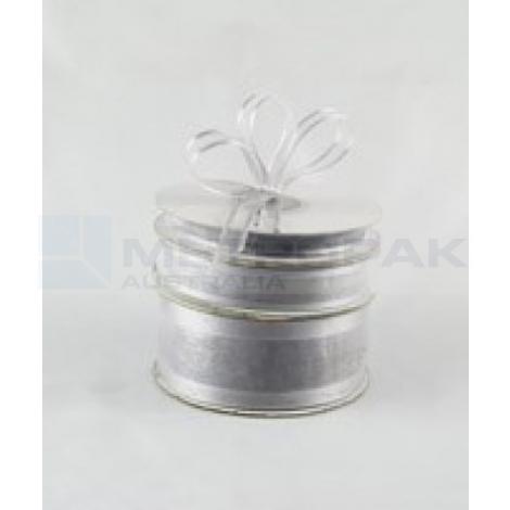 Ribbon 15mm x 22mtrs Satin Edge Organza - Silver