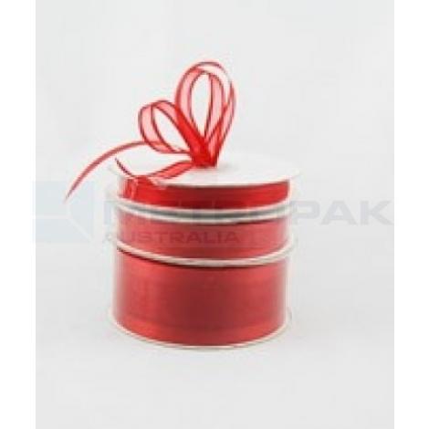 Ribbon 10mm x 22mtrs Satin Edge Organza - Red