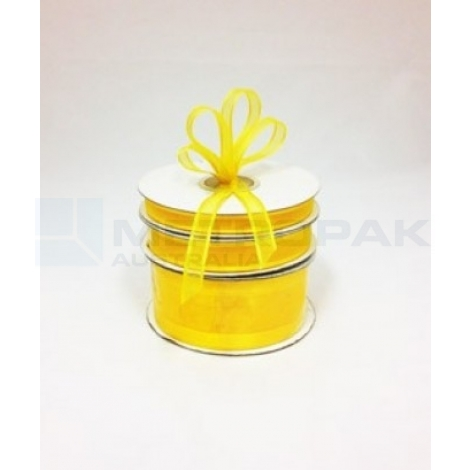 Ribbon 10mm x 22mtrs Satin Edge Organza - Yellow