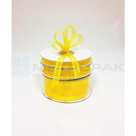 Ribbon 15mm x 22mtrs Satin Edge Organza - Yellow