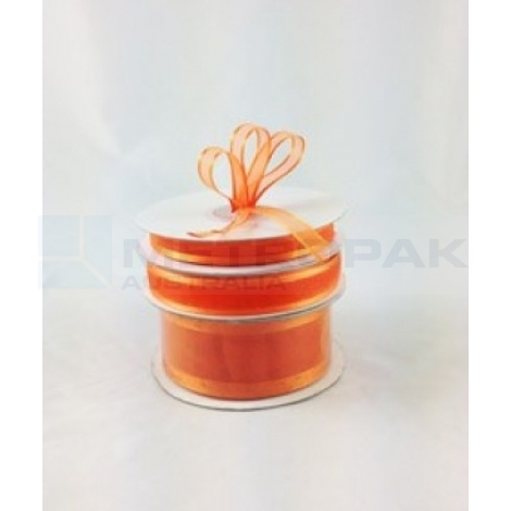 Ribbon 15mm x 22mtrs Satin Edge Organza - Orange