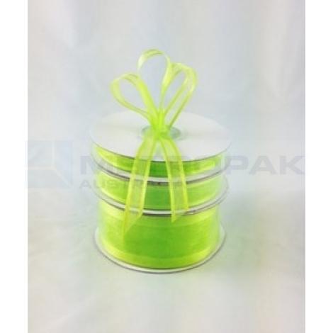 Ribbon 10mm x 22mtrs Satin Edge Lime