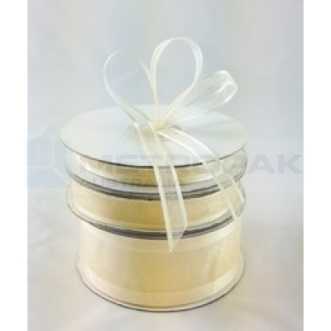 Ribbon 10mm x 22mtrs Satin Edge Cream