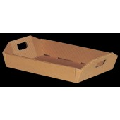 Hamper Tray with Handles - Corrugated Brown