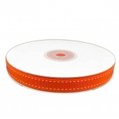 Ribbon 9mm x 20mtrs Grosgrain Stitch Orange