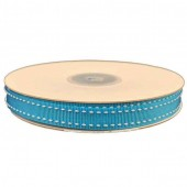 Ribbon 9mm x 20mtrs Grosgrain Stitch Turquoise Blue