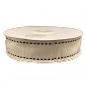Ribbon 25mm x 20mtrs Grosgrain Stitch White