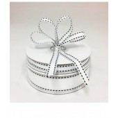 Ribbon 9mm x 20mtrs Grosgrain Stitch White